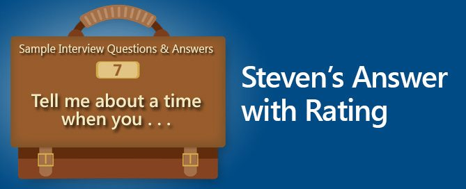 sample interview questions and answers tell me about a time stevens answer